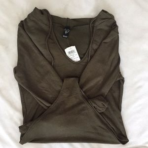 Olive green bodysuit with hood